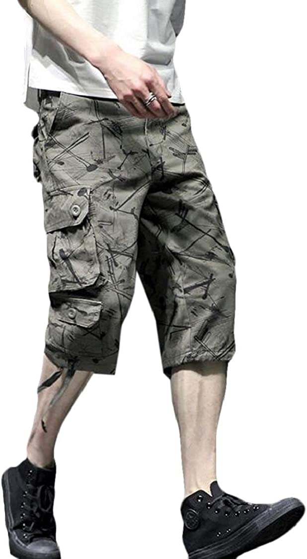 SELX Men Sport Outdoor Multi Pockets Utility Big /& Tall Printed Casual Cargo Shorts
