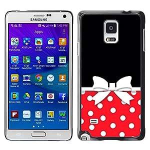 rígido protector delgado Shell Prima Delgada Casa Carcasa Funda Case Bandera Cover Armor para Samsung Galaxy Note 4 SM-N910F SM-N910K SM-N910C SM-N910W8 SM-N910U SM-N910 /Bow Polka Dot Red White Black/ STRONG