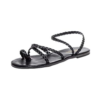 fb95481a176d JPJ(TM)❤️Women s Fashion Summer Woven Flat Heel Slippers Beach Sandals  Ladies Roman