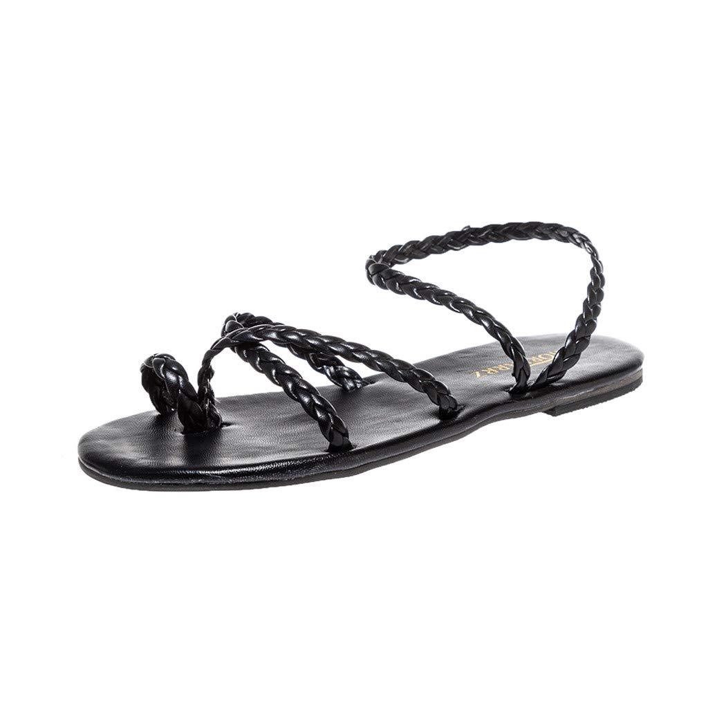 ZOMUSA Women's Spring Summer Woven Flat Heel Slippers Beach Sandals Roman Shoes Black