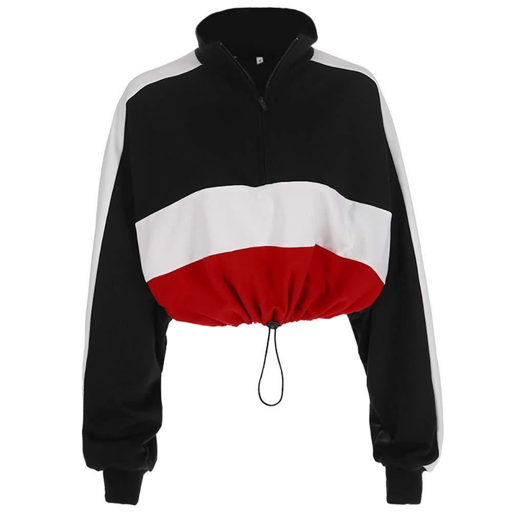 Amazon.com: Womens Casual Pullover Sweatshirt Long Sleeve Zipper Crop Top Blouse Patchwork Shirt: Clothing