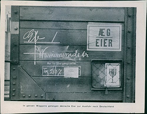 Vintage photo of A label on the wagon: In whole wagons arrive Royal Danish eggs for export to Germany. Tyska ockupationen Danmork Danish Export