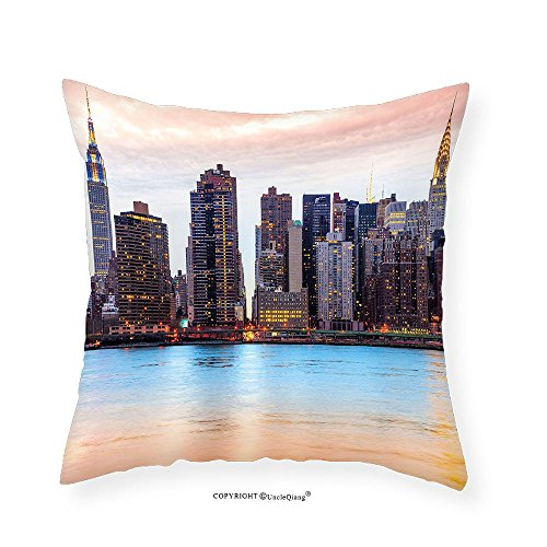 VROSELV Custom Cotton Linen Pillowcase New York Manhattan Skyline Midtown View from the Lake USA American City Artsy Picture for Bedroom Living Room Dorm Peach Blue Mauve 12