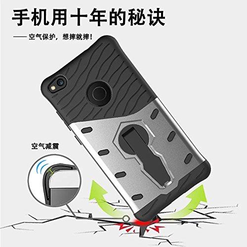 GR Para Huawei P8 Lite 2017 / Huawei Honor 8 Lite 2017 Rugged Dual Layer Armour Shield Protector a prueba de golpes con ajuste de Kickstand cubierta de la caja ( Color : Black ) Black