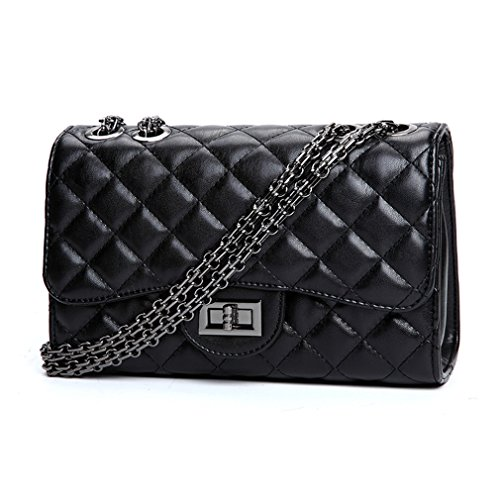 Soft Classic Marchome Leather Quilted Crossbody Black Woman Handbag Chain Medium Pu Metal Shoulder for Cpw6Rwqd