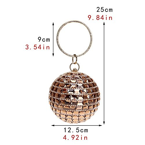 Women Party Circular Bags Bags Purse Crystal Clutch Shoulder Diamonds TuTu Lady Wedding Evening red Pocket Metal Rhinestones q5t6vUwxOU