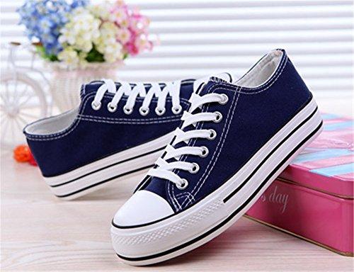 Sin Vulcanizados Wealsex Azul Zapatos Casuales Lona Cordones Mujeres de Zapatos Zapatos Lona de Plataforma Yq40FxCq
