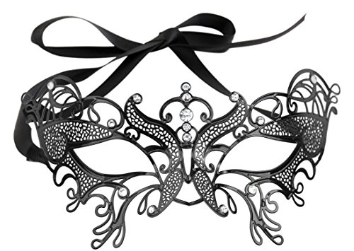 Luxurious Venetian Masquerade Filigree Mask - Malleable Laser-cut Metal With Rhinestones - Regal/Royalty Series Filigree Pattern 15 - For Masquerade Ball, Mardi Gras, Halloween Costume Party, New Year's Party, Carnivals and (Mardi Gras Series)