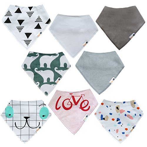 Organic Baby Shower (Baby Bandana Drool Bibs 8-Pack for Girls and Boys, unisex,