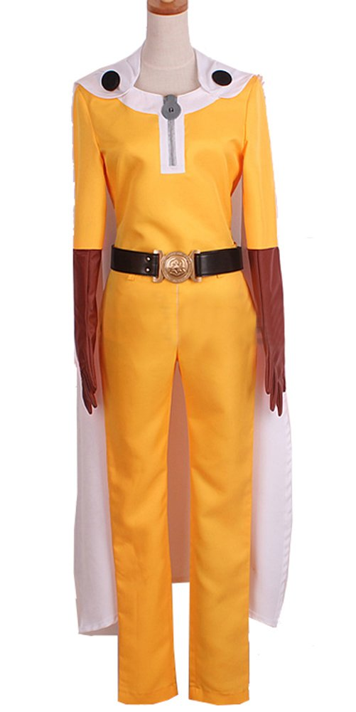Saitama Cosplay Yellow Jumpsuit & Cape Costume for Halloween M by xcoser