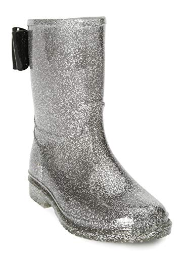 JELLY BEANS Girls Glitter Rubber Rain Boots 100% Waterproof with Bow Silver Size -