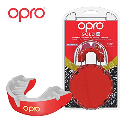 OPRO Mouthguard Custom-Fit Gold Level Gum Shield for Ball, Combat and Stick Sports - 18 Month Dental Warranty (Adult and Kids Sizes) | Red/Pearl, Kids