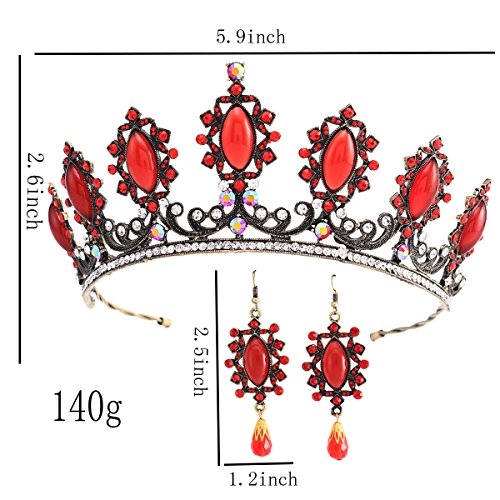 Stuffwhoesale Vintage Oval Ruby Crown with Drop Earring Jewelry Set by Stuffwholesale (Image #1)