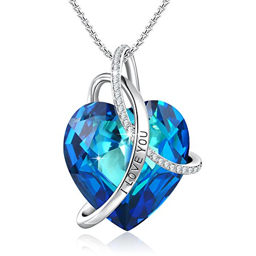 GEORGE · SMITH Titanic's Memory'Mother Daughter Necklace Blue Heart Pendant Engraved I Love You Jewelry for Wife Mom with Swarovski Crystals]()