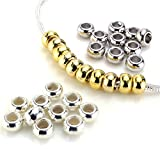 BEADNOVA Silver & Gold Plated Ring Spacer Beads for Snake European fit Charm Bracelet Chain Mix Lot Assortment