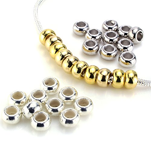 Gold Plated Silver Spacer - BEADNOVA Silver & Gold Plated Ring Spacer Beads for Snake European fit Charm Bracelet Chain Mix Lot Assortment