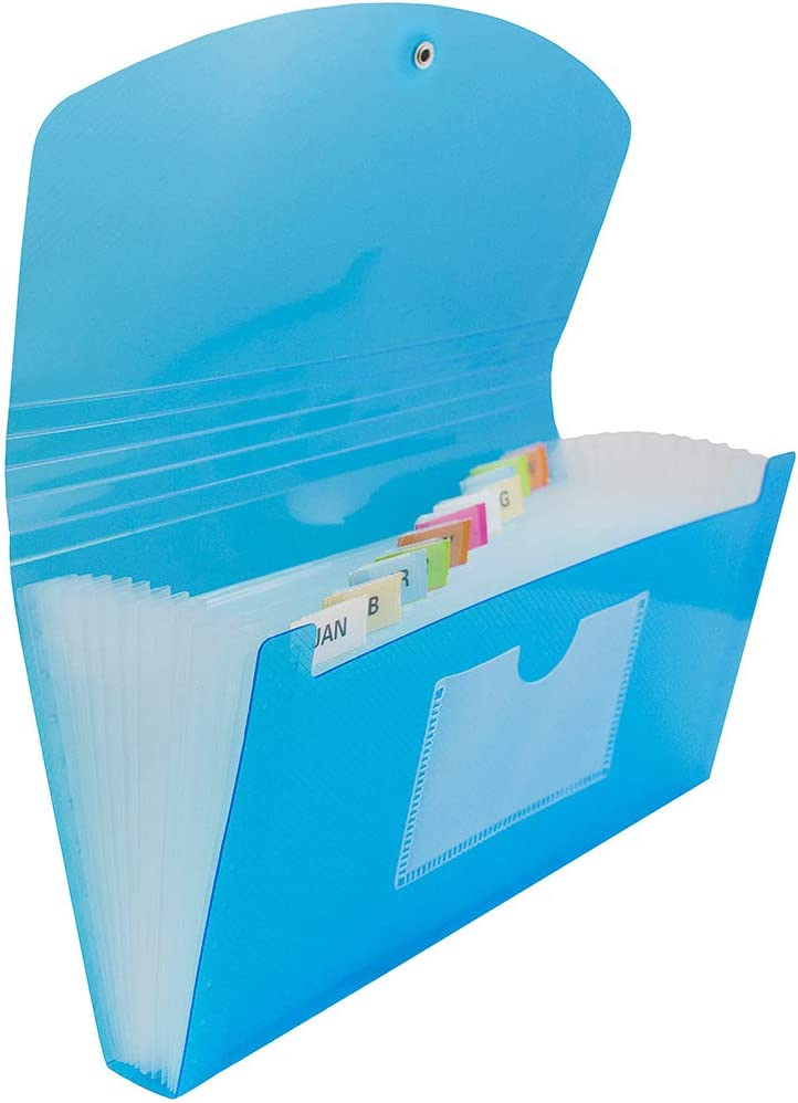 Expanding File Folders with Handle 13 Pockets Letter Size Blue Clear Pocket New