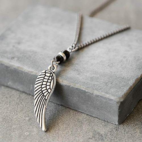 Handmade Long Stainless Steel Necklace For Men Set With Silver Plated Wing Pendant and 2 Onyx Beads By Galis Jewelry - Wing Necklace For Men - Jewelry For Men - Silver Necklace For Men ()