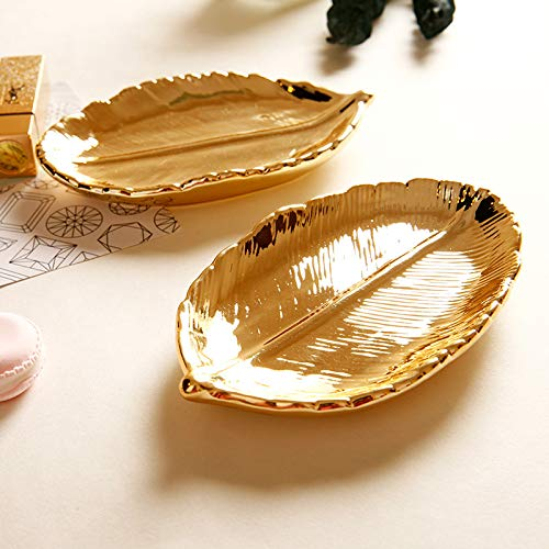 Dunnomart Leaf gold tray cake plate vintage style ceramic jewelry display dish 3.5 inches bakeware candy bar decoration cupcake tea tray -