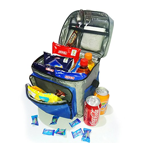 Insulated Lunch Bag / Cooler Bag - Multipurpose - Removable Insulated Sleeve - Extra Heavy Insulation (Grey and Blue)