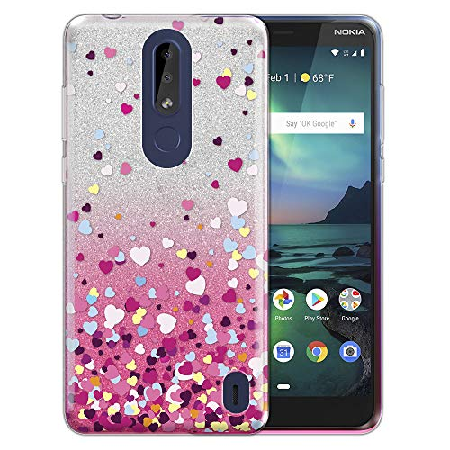 FINCIBO Case Compatible with Nokia 3.1 Plus 2019 (Cricket), Shiny Silver Pink Gradient 2 Tone Glitter TPU Protector Cover Case for Nokia 3.1 Plus Cricket (NOT FIT International) - Falling Hearts ()