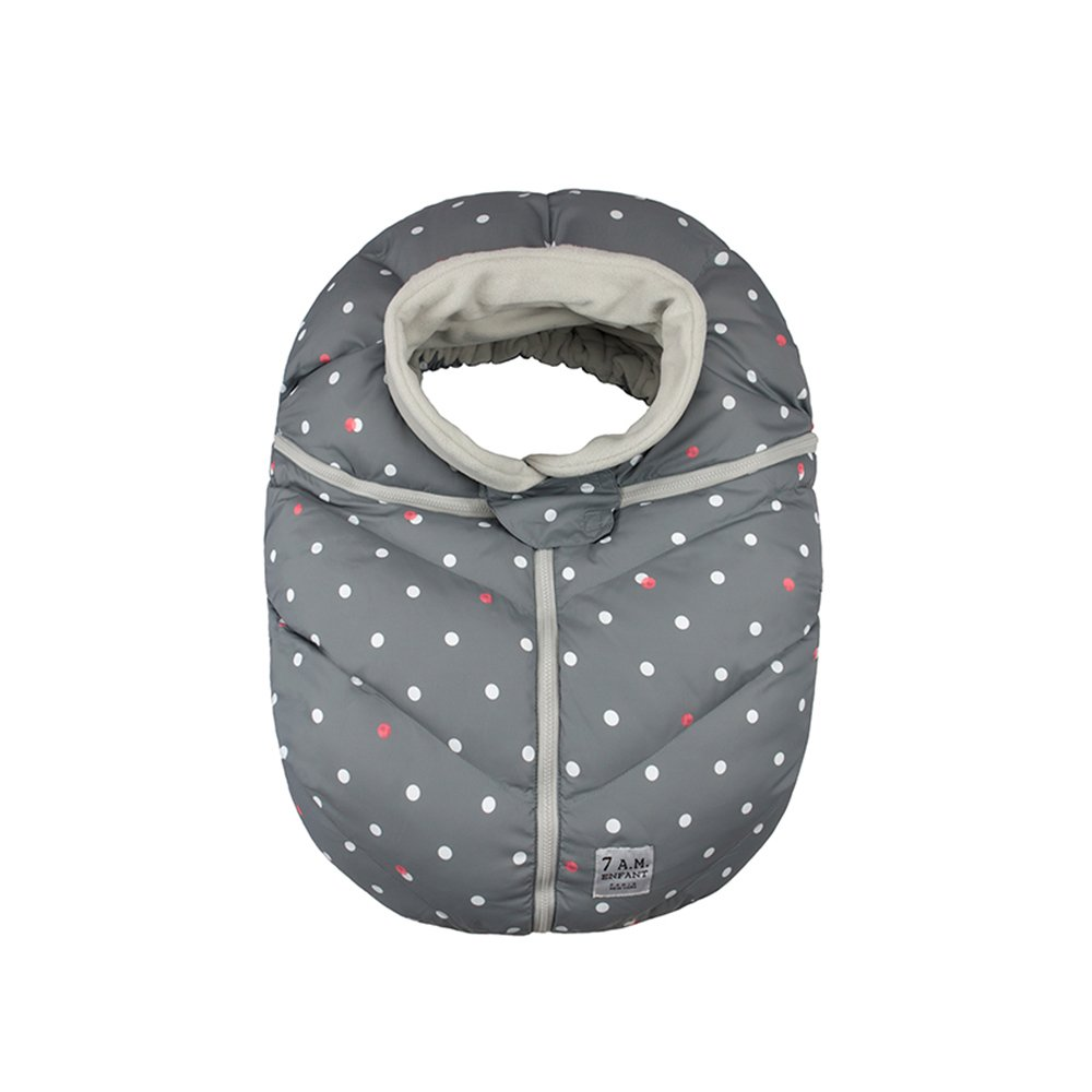 7AM Enfant Car Seat Cocoon, Wind and Water Resistant, Versatile, On-the-Go and Elasticized Car Seat Cover Micro-Fleece Lined (Print Grey Polka Dots, One Size 0-12 months)