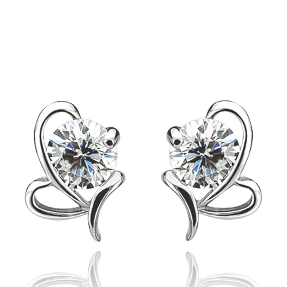Alvade Fashion bow Earrings, Elegant Silver-Plated Stud Earrings Girl Jewelry Diamond Jewelry Ladies For Gift