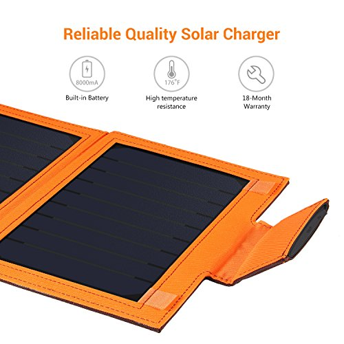 iClever USB Solar Charger 8000mah Solar Battery Pack Single Port with 12W Sunpower Panel for iPhone X / 8 / 7 / 7 Plus / 6S / 6 Plus, iPad Pro Air / Mini and other Cellphone, Tablet by iClever (Image #4)