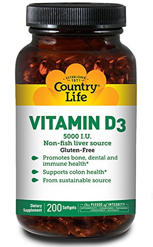 Country Life Vitamin D3 5000 I.U., 200-Softgel