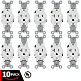 ESD Tech 20A Single Receptacle – Tamper Resistant Electrical Wall Outlet, White, UL Listed, Residential & Commercial Grade, Straight Blade, 2-Pole (10 Pack, 20A Single)