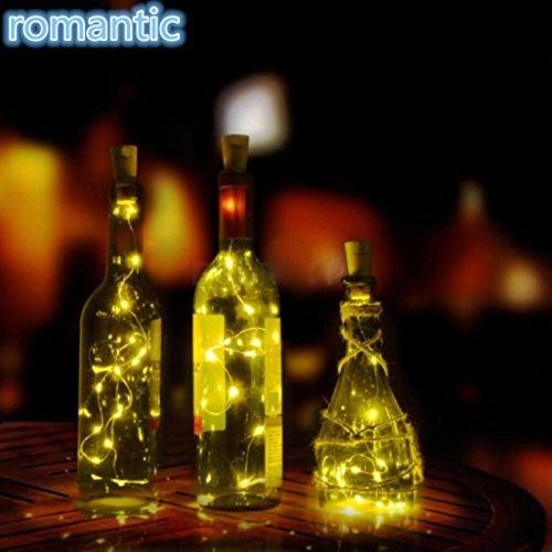 LiPing 8/10PCS Solar LED Wine Bottle Cork Shaped String Light Warm White- Soothing DécorationElegant Rope Light Suitable for Christmas, Weddings. (Warm White, (Velvet Rope For Sale)