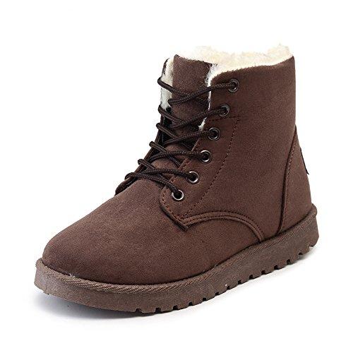 HOESCZS Chaussures De Femme Bottes d'hiver Épais De Neige Street Épais d'hiver Bottes Martin des Bottes Classiques Femmes Bottes en Coton Chaussures Femmes 39|Brown cc6f78