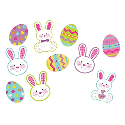 Egg-stra Adorable Easter Party Assorted Mini Bunnies and Eggs Cutouts Decorations, Paper, Pack of ()