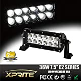 "Xtreme E2 Series Off Road 7.5"" 36W 12 LEDs Straight Spot Flood Combo Beam Screw Surface Waterproof Work Light Bar For ATV 4x4 Jeep Polaris Offroad Tractor Marine Truck Raptor SUV Pickup"