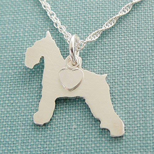 (.925 Sterling Silver Standard Schnauzer Dog charm Necklace Welshie Pet memorial silhouette)