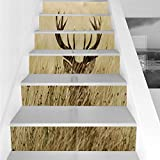 Stair Stickers Wall Stickers,6 PCS Self-adhesive,Antler Decor,Whitetail Deer Fawn in Wilderness Stag Countryside Rural Hunting Theme,Brown Sand Brown,Stair Riser Decal for Living Room, Hall, Kids Room
