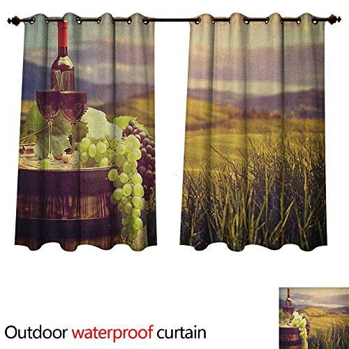 Anshesix Wine Outdoor Curtains for Patio Sheer Italy Tuscany Landscape Rural Vineyard Autumn Harvest Grapes Drink Viticulture W63 x L63(160cm x 160cm)