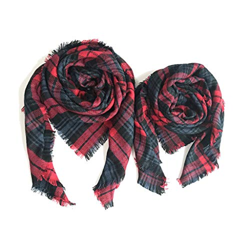 Mother Daughter Matching Scarfs Mommy Me Scarf Set Plaid Square Scarf Towel Winter Activity Scarf Women Tartan Scarf Wrap Shawl