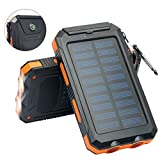 Power Bank Solar Charger / Backup Battery 10000mAh. Premium Waterproof, Portable External USB Battery Charger with LED Light,Compass. For iPhone, iPad, Cellphones, Samsung. Highest Quality Solar Panel