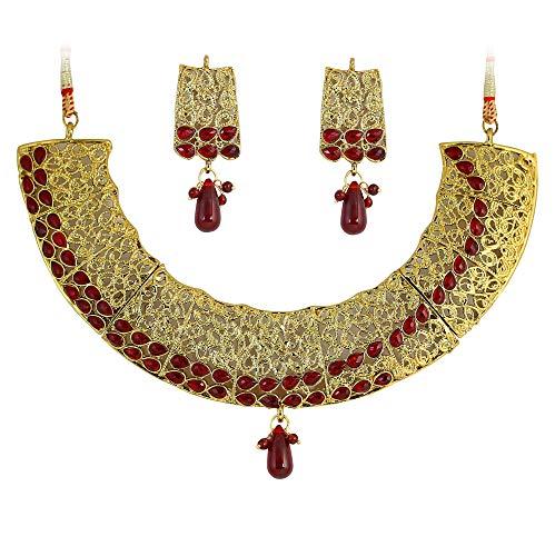Touchstone Golden & Red Austrian Diamonds Necklace Set