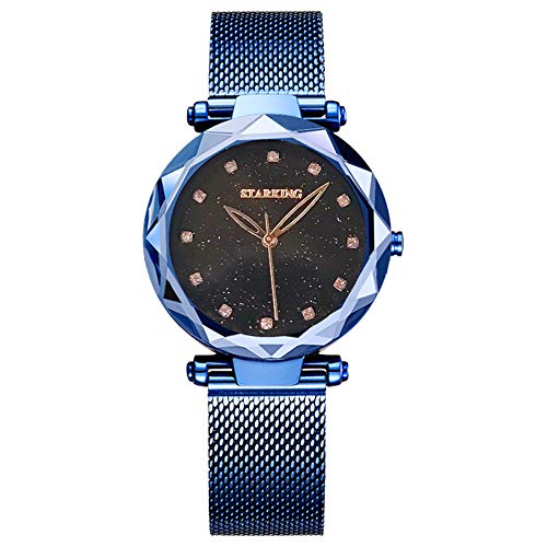STARKING Fashion Elegant Quartz Women Watch Big Face Black Mesh Dress Watch Lady Faceless TL0918 Waterproof Flower Lady Watch