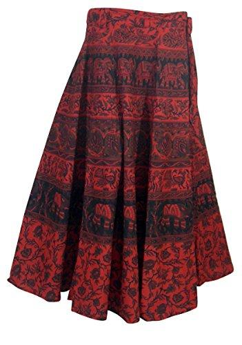Rouge Vtements Jupe Multicolores Enveloppant Inde Coton Robes YCwF0RWqxB