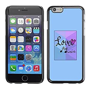 FECELL CITY // Duro Aluminio Pegatina PC Caso decorativo Funda Carcasa de Protección para Apple Iphone 6 Plus 5.5 // Love Music Note Blue