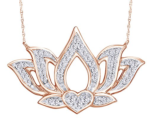 Wishrocks Round Cut White Natural Diamond Open Lotus Flower Necklace in 10K Solid White Gold (1/5 ()