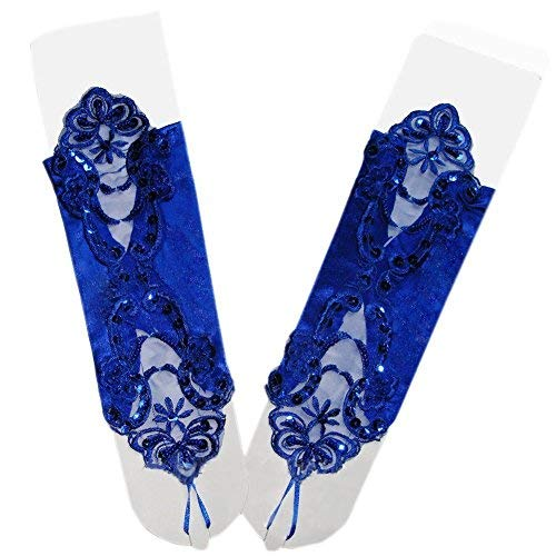 Ymacy Women Evening Opera Satin Gloves Fingerless Gathered Lace Sequins Bridal Party Gloves Royal Blue