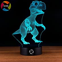 3D Night Light Dinosaur T-Rex Desk Lamp 7 LED Light Colors Optical Illusion Made From Flat Acrylic Plate Soft Glow Smart Touch Button With USB Cable Decorative Bedroom Lamps
