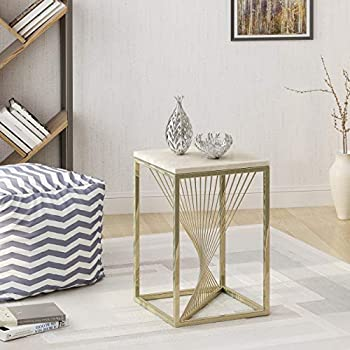 Oliver Modern Faux Marble Accent Table, Light Grey