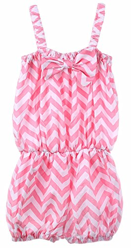 ANDI ROSE Baby Infant Toddler Girls Sleeveless Bowknot Outfit Romper (Size-L(2T-3T), Striped--Pink)