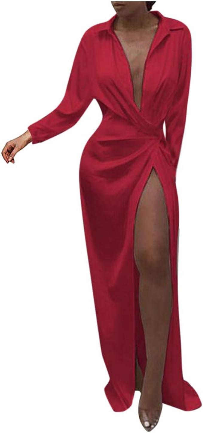 Amazon Com Vestido Sexy De Manga Larga Con Cuello En V Para Mujer Color Rojo Clothing