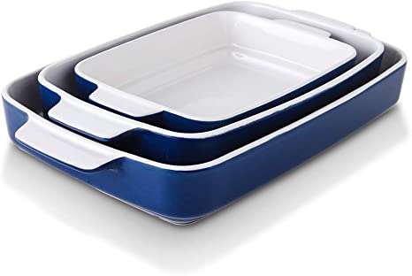 Kitchen Lasagna Pans for Cooking 9 x 13 Inches Rectangular Casserole Dish Set Texture Series 3-Piece Ceramic Baking Dish Set KOOV Bakeware Set Red Cake Dinner